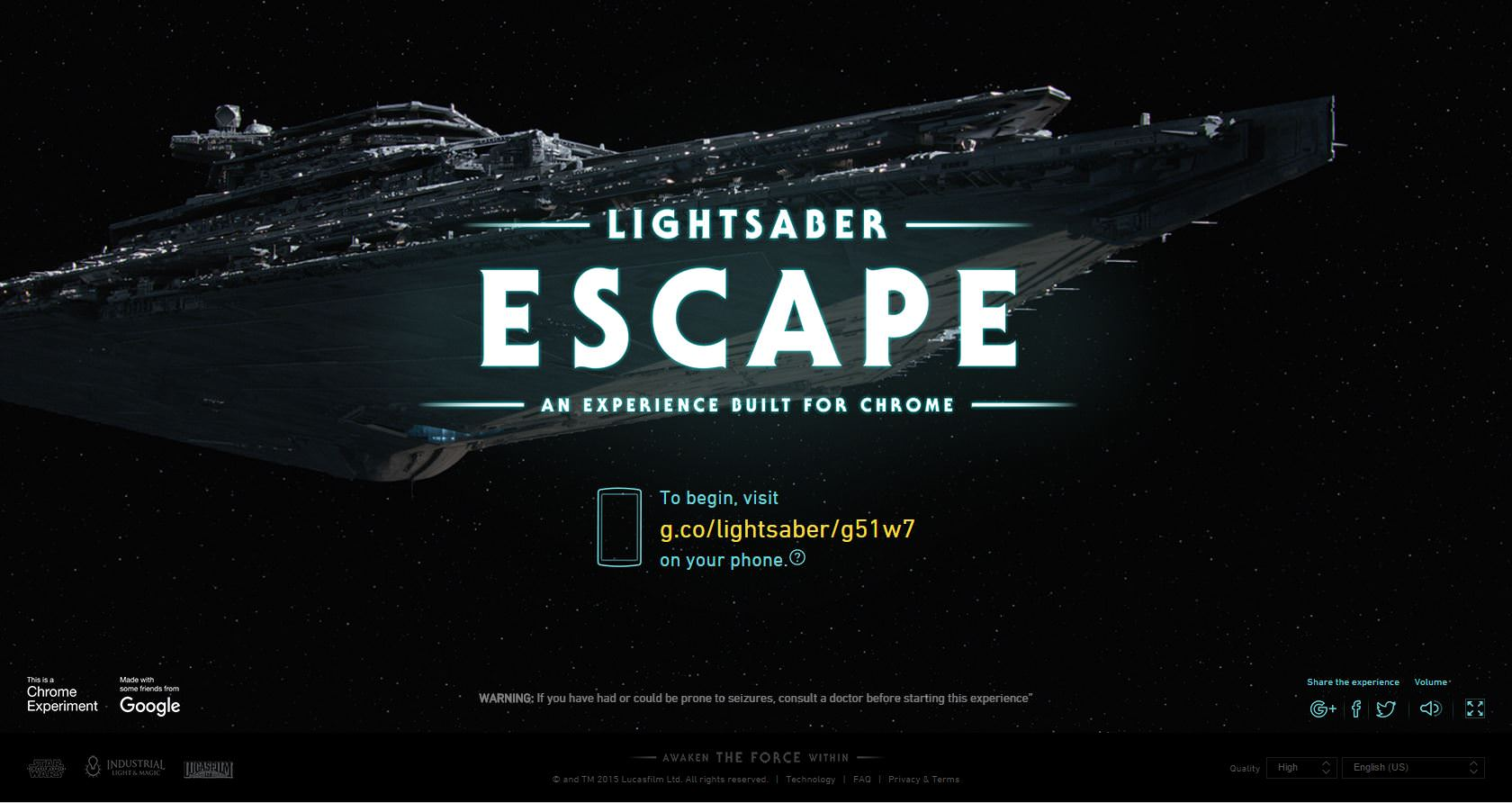 Jocul Lightsaber Escape de la Google