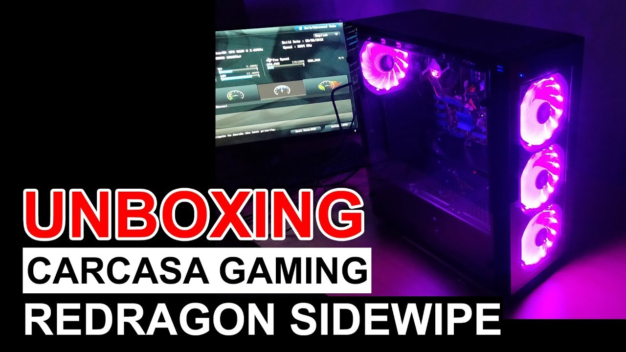 Unboxing carcasa gaming Redragon Sidewipe Black + review text