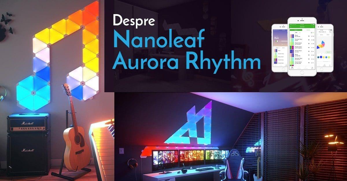 Panouri luminoase modulare inteligente Nanoleaf Aurora Rhythm